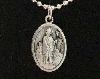 St Patrick Medal - Silver Saint Patrick Necklace, Quality Italian Medal