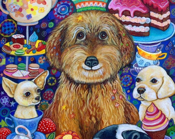 The Dog King's Tea-Party - A3 fine art Prints