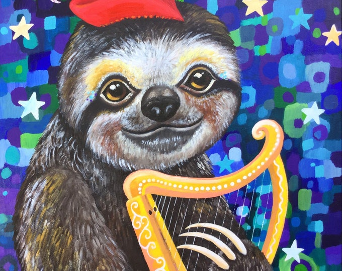 Harper the Minstrel Sloth - fine art print