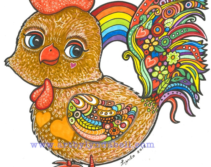 Rainbow Rooster - original Illustration