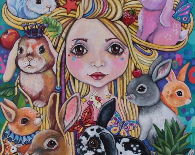 Lulu the Bunny Godmother - fine art print A3