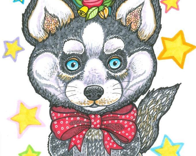 Beatrice the Husky - Original Illustration