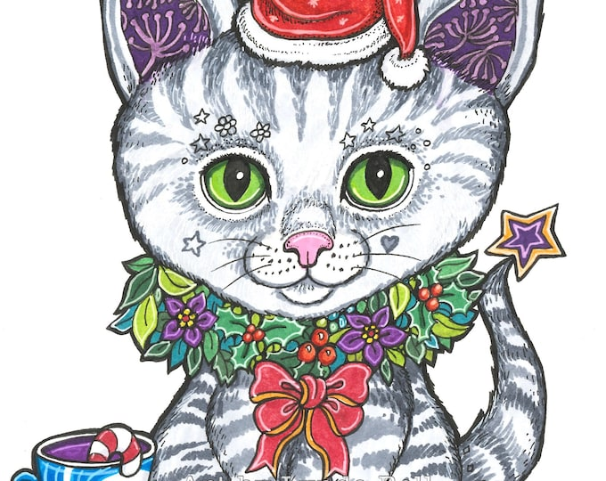 Santa Cat - original illustration