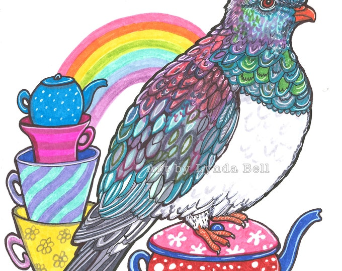 Kereru Teatime - original Illustration
