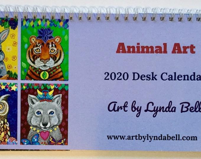 Animal Art 2020 Desk Calendar