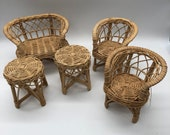 Wicker (mini) Chair set of 5. Perfect as small plant stands, or to display treasures. Not vintage, but adorable and in great condition