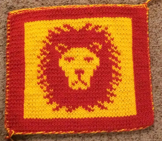 Gryffindor Inspired Lion Pattern Chart Only Knit Crochet Etsy