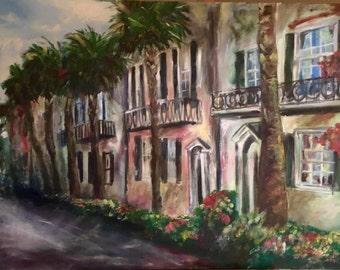 "40"" x 30"" Original Charleston Painting of Rainbow Row - ""A Rainbow's Rendering of Southern Charm"""