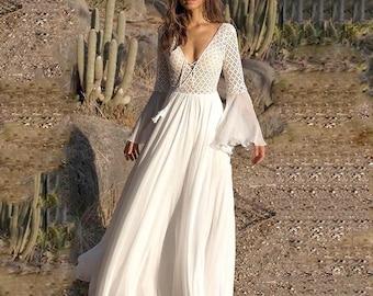 c39cae04546 Boho Wedding Dress Long Flare Sleeve V Neck White Tassel Hollow Boho Lace  Maxi Dress Holiday Chic Women Autumn Female White Flowy Dresses