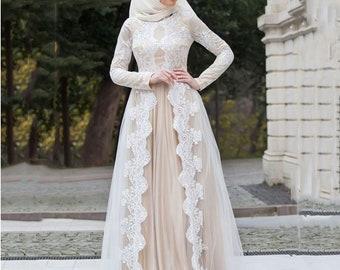 a844c22a4933 Muslim Wedding Dresses Full Sleeves Custom Made Bridal Dress vestidos de  noiva Casamento Wedding Gown Champagne