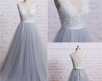 3a4366a5f708e Plus Size Wedding Dress V Neck Lace Tulle Wedding Gown A Line Lace Up Back  Boho Wedding Dress