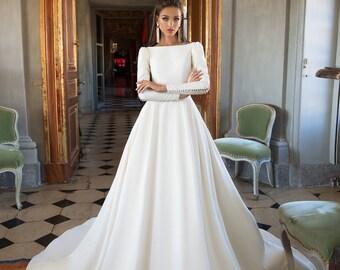 Full Long Sleeves Custom Made wedding Dress 2019 Soft Satin Button Wedding  Dresses Vintage Modern Modest New 6cea1f47c