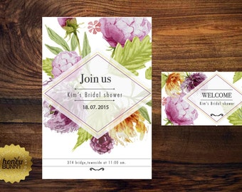 flower bridal invitation