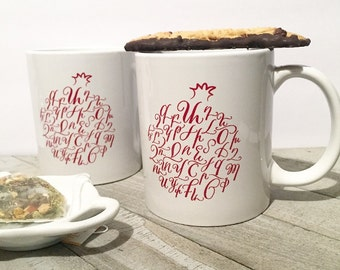 Armenian Alphabet Mug Traditional Calligraphy Unique Gift, Armenian Gifts, pomegranate mug, housewarming, wedding gift, armenian art,