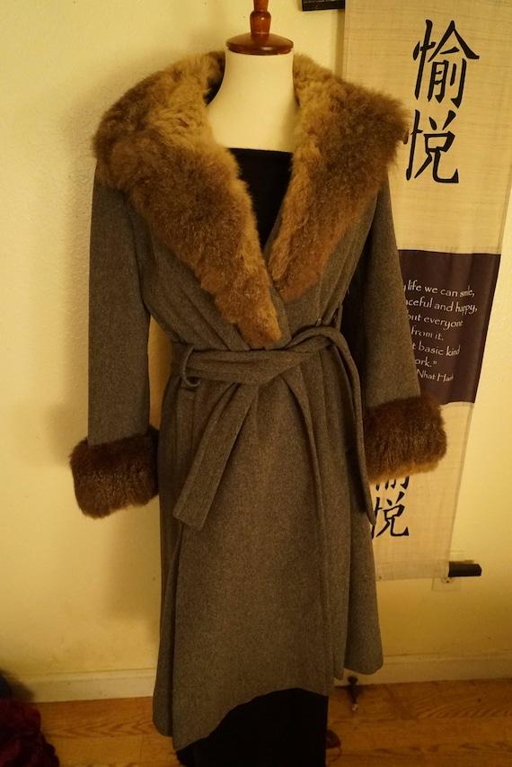 Vintage Wool Princess Belted Fox Fur Coat Women's
