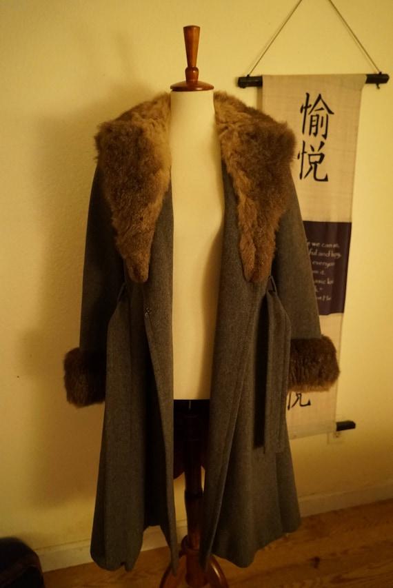 Vintage Wool Princess Belted Fox Fur Coat Women's… - image 8