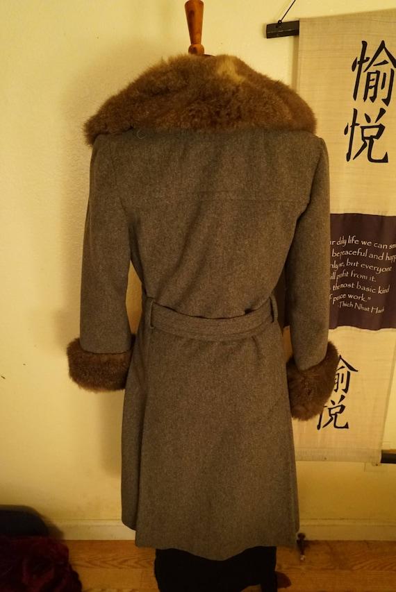 Vintage Wool Princess Belted Fox Fur Coat Women's… - image 5