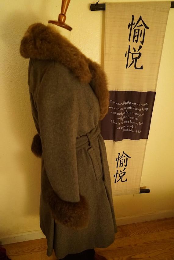 Vintage Wool Princess Belted Fox Fur Coat Women's… - image 2
