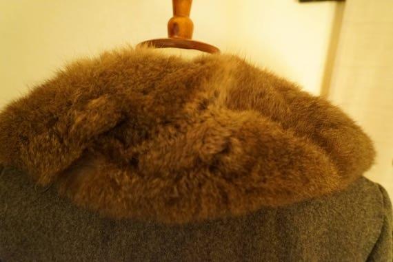 Vintage Wool Princess Belted Fox Fur Coat Women's… - image 3
