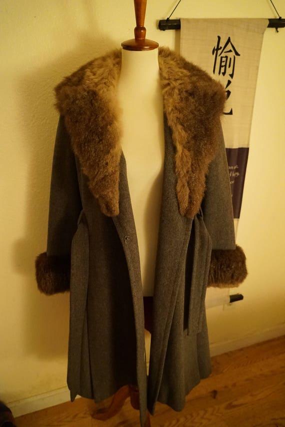 Vintage Wool Princess Belted Fox Fur Coat Women's… - image 6
