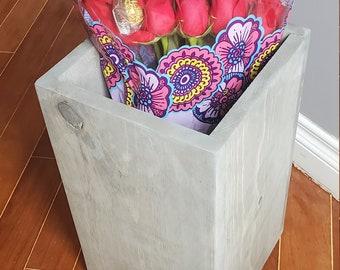 Recycled Wooden Floor Vase | Porch Vase | Wood Vase | Solid Wood Vase - FREE SHIPPING