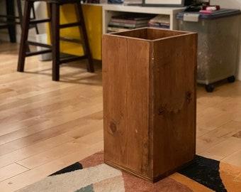 "Handmade Recycled Solid 3/4"" Wood Waste-Bin | Trash Bin | Trash Can | Wastebasket Dustbin | Garbage Box | Bucket | FREE SHIPPING!!"