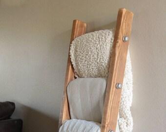 Blanket Ladder | Rustic Ladder Decor | Industrial Pipe and Wood Blanket Ladder | Wooden Ladder | Pipe Ladder | Industrial Furniture