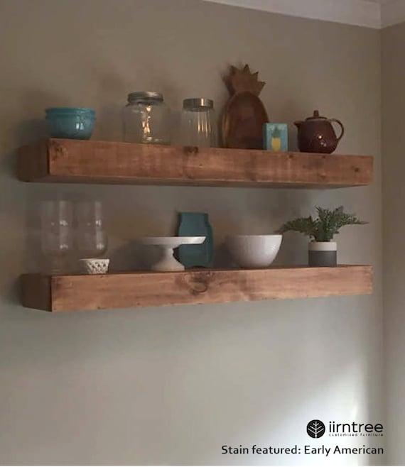 Rustic Shelf Farmhouse Shelf Wood Floating Shelves 8-inches Deep Floating Shelf