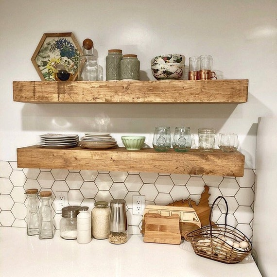 huge discount 73b99 34521 Wood Floating Shelves 3-Inches Thick | 10-inch deep | Rustic Shelf |  Farmhouse Shelf | Reclaimed Wood Floating Shelf | Handmade Shelf | Wood