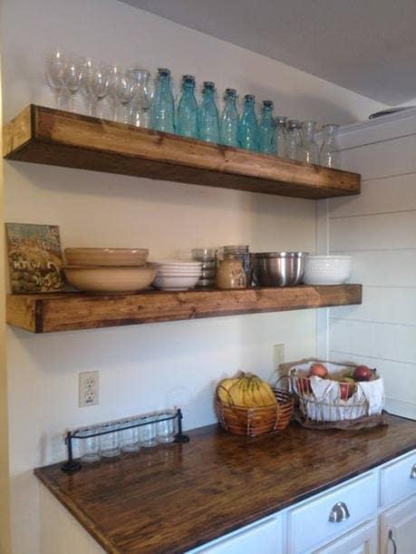 wood floating shelves 12 inches deep rustic shelf etsy. Black Bedroom Furniture Sets. Home Design Ideas
