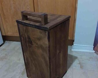 "Handmade Recycled Solid 3/4"" Wood Waste-Bin with a LID | Trash Bin | Trash Can | Wastebasket Dustbin | Garbage Box | Bucket | FREE SHIPPING!"