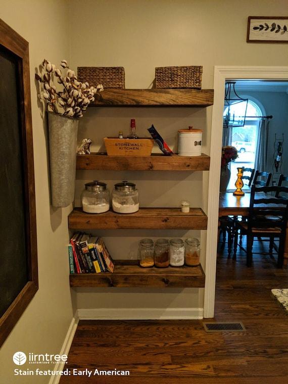 Wood Floating Shelves 16 Inches Deep Rustic Shelf Etsy
