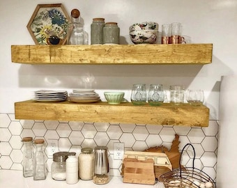 Wood Floating Shelf 3-Inches Thick | 10-inch deep | Rustic Shelf | Farmhouse Shelves | Reclaimed Wood Floating Shelf | Handmade Shelf | Wood