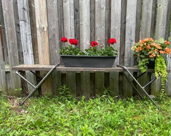 Martel Pipe Bench | Entryway Bench | Farmhouse Bench | Rustic Bench | Modern Bench | Steel Leg Bench | Solid Wood Bench | Country Bench