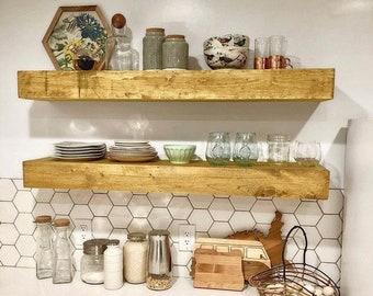 FREE SHIPPING!!! - Wood Floating Shelf 3-Inches Thick | 8-inches Deep| Rustic Shelf | Farmhouse Shelf | Floating Shelves | Handmade Shelf