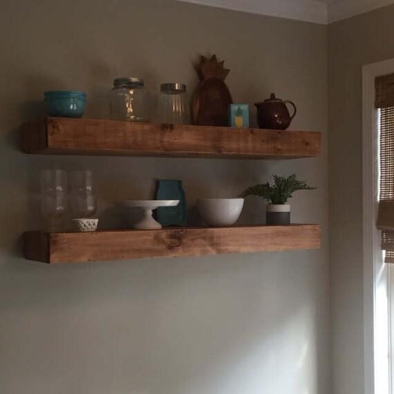 Wood Floating Shelves 40inches Deep Rustic Shelf Etsy Adorable 10 Inch Deep Floating Shelves