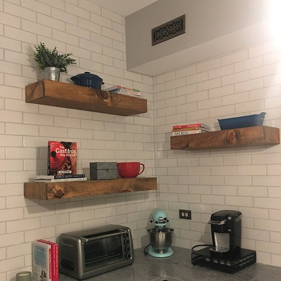 Astounding Wood Floating Shelves 3 Inches Thick Rustic Shelf Farmhouse Shelf Reclaimed Wood Floating Shelf Handmade Shelf Wood Wall Shelf Interior Design Ideas Oxytryabchikinfo