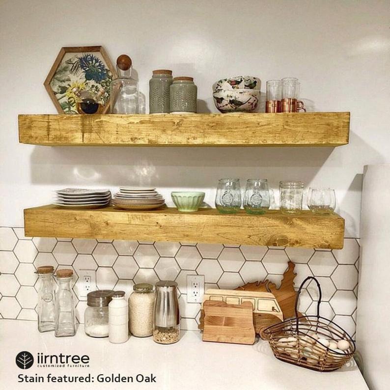 Wood Floating Shelf 10-inches Deep  Rustic Shelf Farmhouse image 1