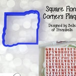 Square Floral Corners Plaque Cookie and Fondant Cutter