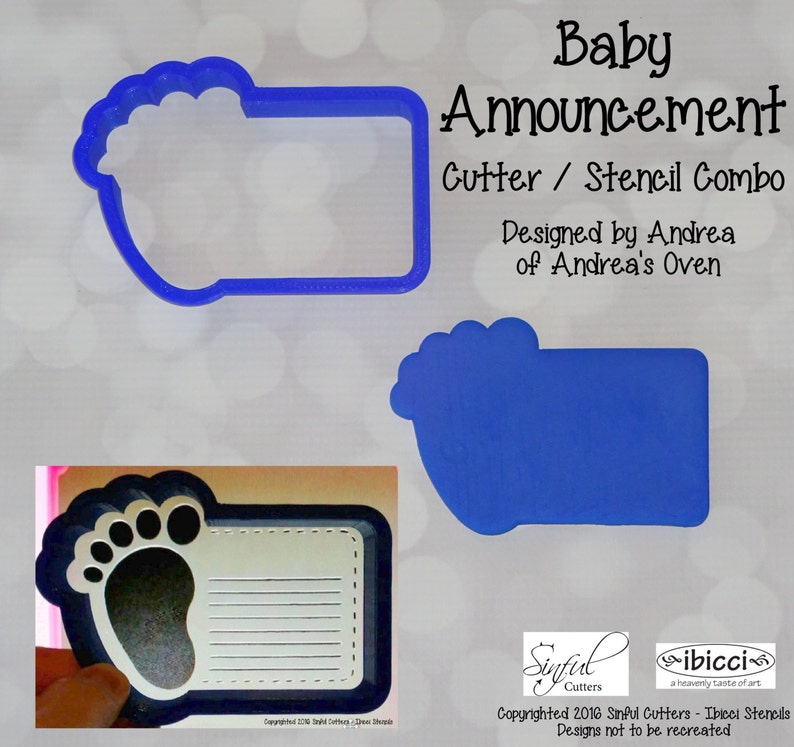 Baby Announcement Cookie / Fondant Cutter and Stencil Optional image 0