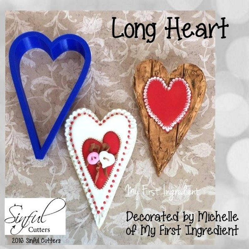 Long Heart Cookie and Fondant Cutter image 0