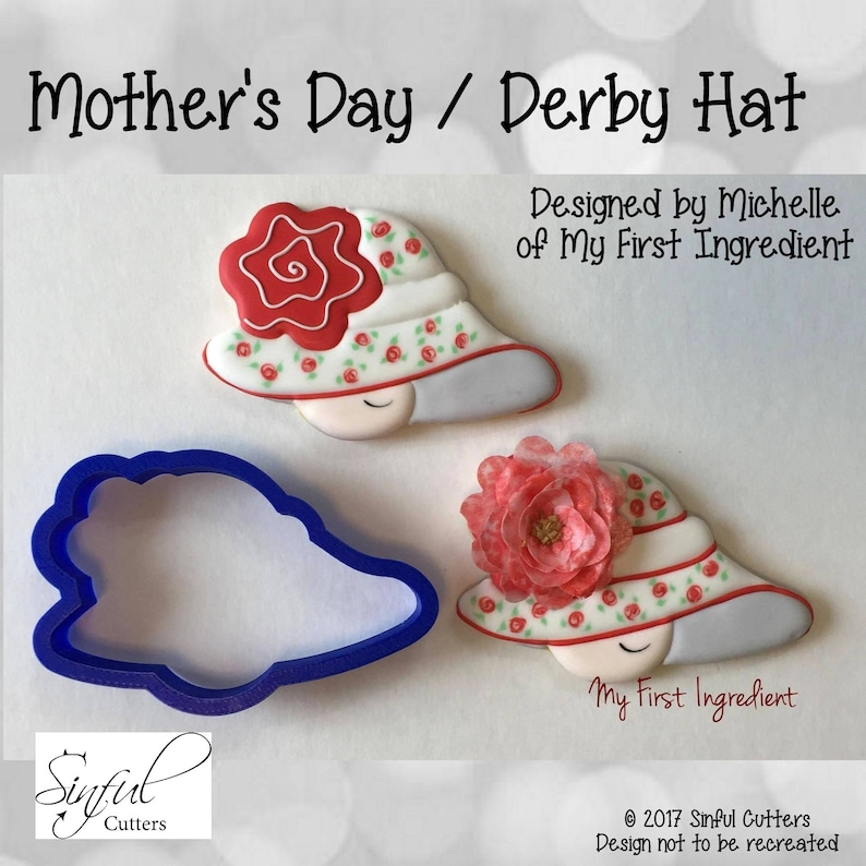 Mother's Day  Derby Hat Cookie / Fondant Cutter image 0