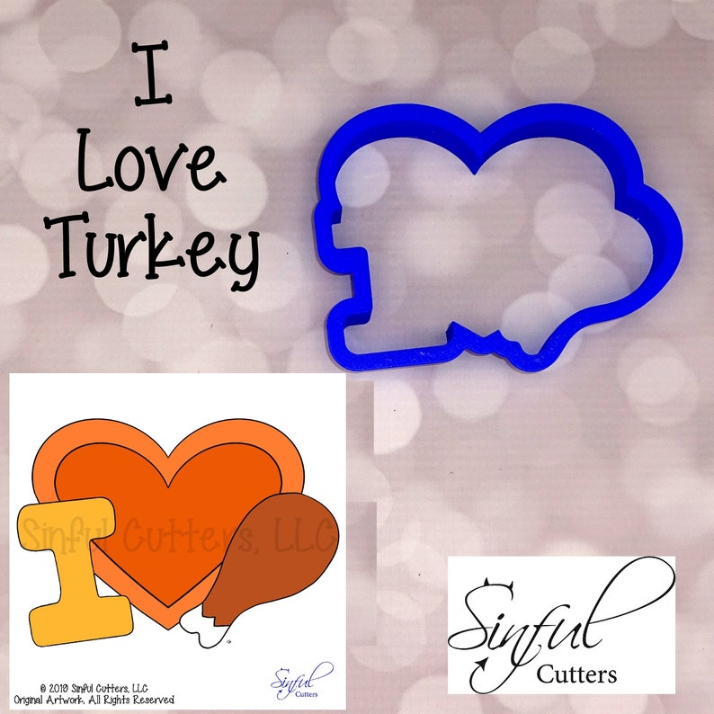 I Love Turkey Cookie / Fondant Cutter image 0
