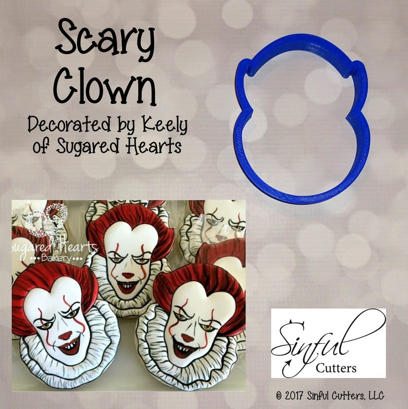 Scary Clown Cookie and Fondant Cutter image 0