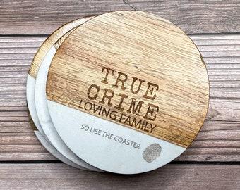 True crime wood and marble coasters    true crime     custom coasters    acacia wood    marble coasters    use the coaster    humor decor