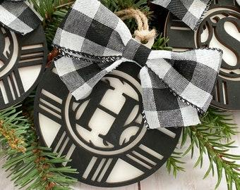 Personalized Farmhouse monogram ornament, Farmhouse, monogram, black and white, buffalo plaid, wood ornament, Hand painted