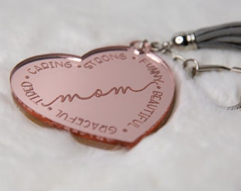 Mothers day rose gold mom keychain   i love mom   mothers day gift   gold   definition of a mom   moms day   heart keychain   acrylic