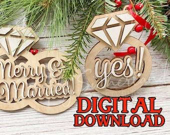Laser ready cut file, wedding gift, engaged, married christmas ornament glowforge, mira, laser cut, svg, christmas 2021, christmas ornament,