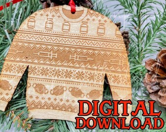 Laser ready cut file, Covid vaccination, ugly christmas sweater, glowforge, mira, laser cut, svg, christmas 2021, christmas ornament,