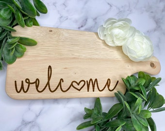 welcome charcuterie board    welcome    housewarming gift    unique gift    wood charcuterie board    custom laser engraved    kitchen decor